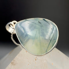 Prehnite and Rutilated Epidote Silver Pendant