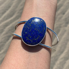 Lapis Lazuli Cuff Statement Bracelet for Confidence