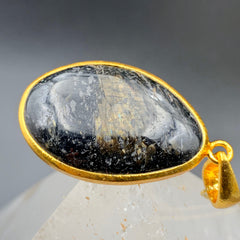 Greenland Nuummite Oval Gold Pendant & Chain