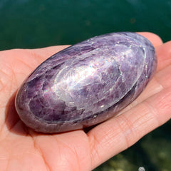 Gem Lepidolite Shiny Collector Palm Stone