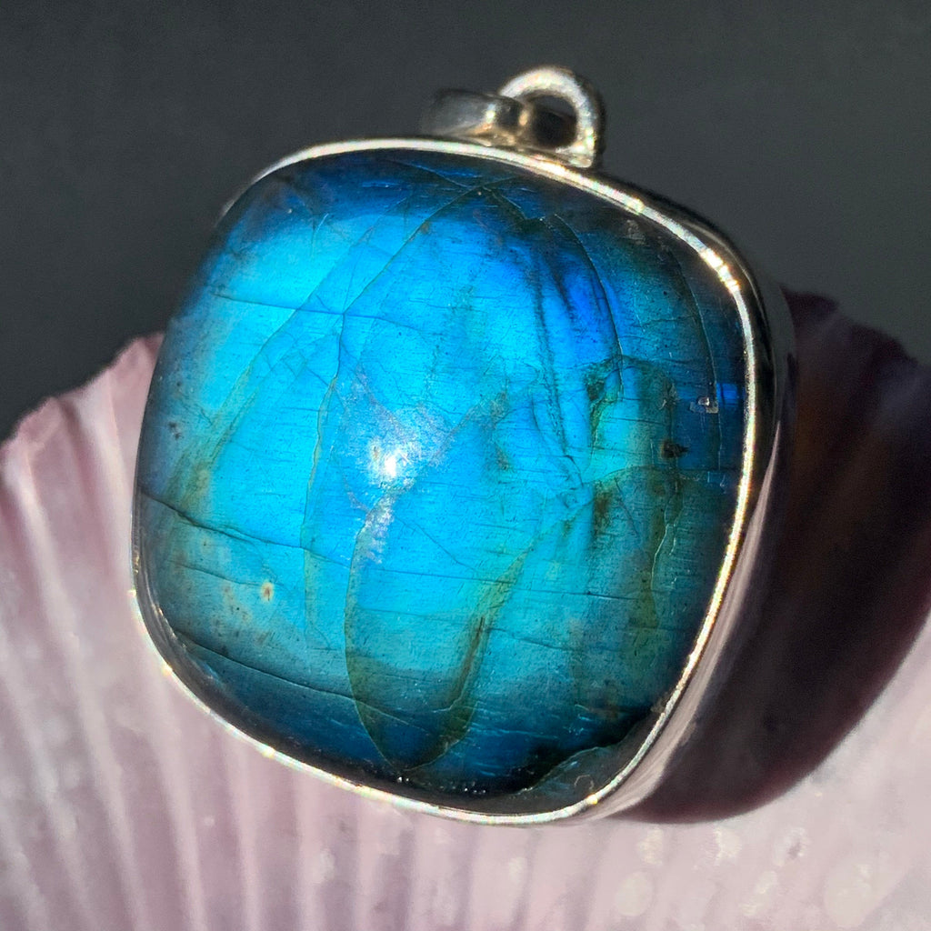 Blue Labradorite Intuition Boosting Silver Pendant