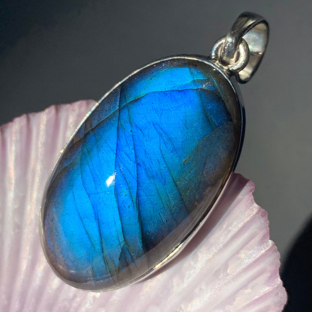 Labradorite Blue Flash Silver Oval Pendant