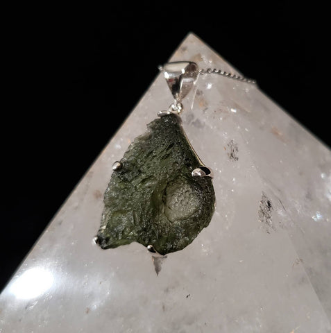 Genuine Raw Moldavite Sterling Silver Pendant