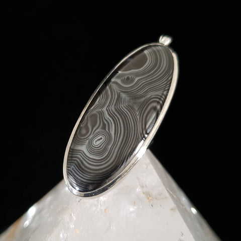 Black Merlinite Silver Pendant - Psilomelane