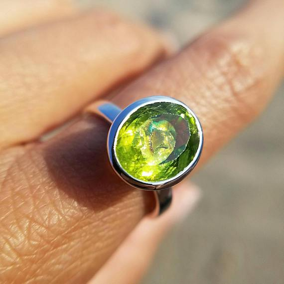Peridot Solitaire Rainbow Inclusion Ring - Size 7