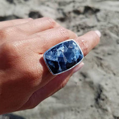 Pietersite Adjustable Sterling Silver Ring