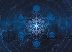 Platonic Solids Galaxy Crystal Grid Card