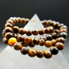 Tiger Eye Faceted Stretch Bracelet - 6mm Beads