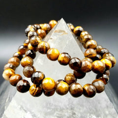 Tiger Eye Faceted Stretch Bracelet - 8mm Beads