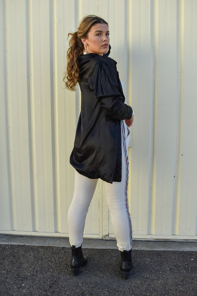 Let's Sleek Business Satin Boyfriend Blazer