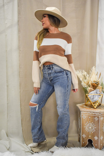 Coco Latte Stripe Knit Sweater