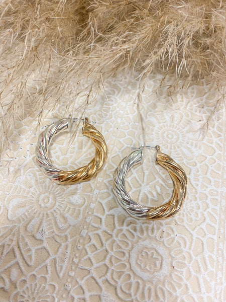 Twisted Rope Two Tone Hoops