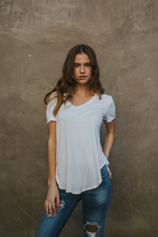 On the Go Basic Ivory Tee