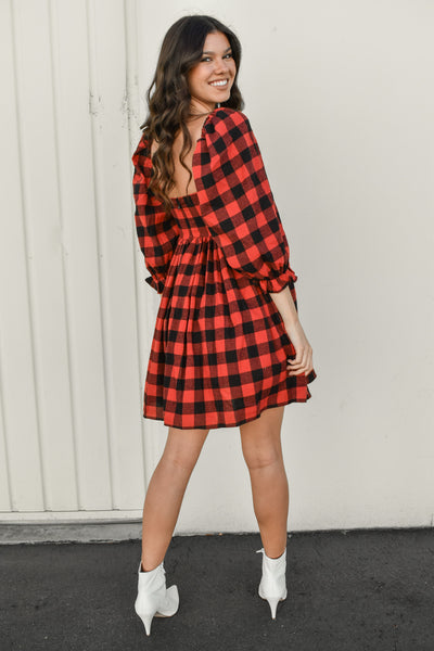 Checkin' It Twice Plaid Dress
