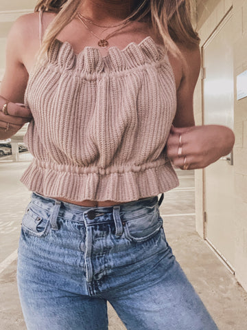 Scrunchie Knit Crop