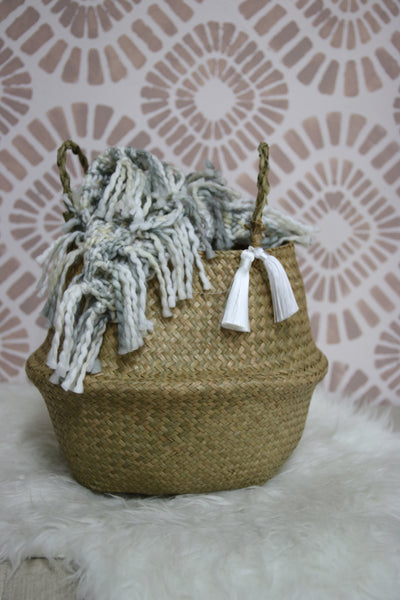 Woven Basket with Tassels