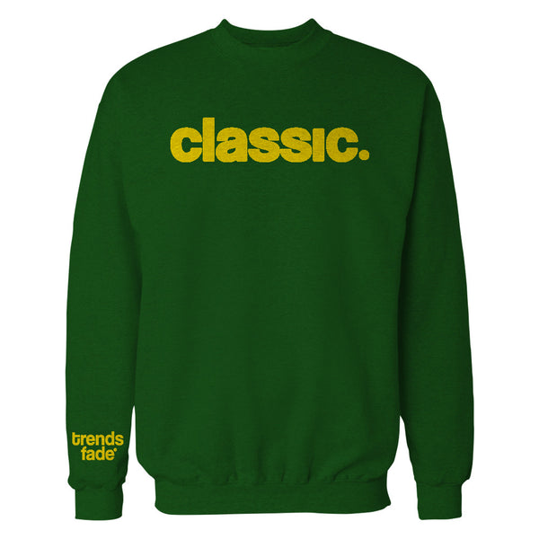 gold on green crewneck