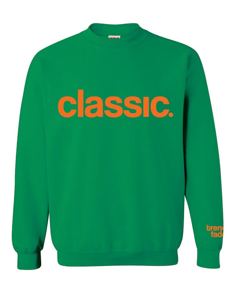 orange on green crewneck