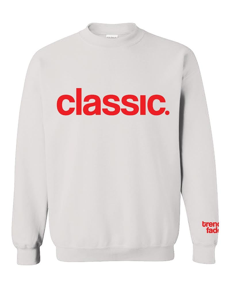 red on white crewneck