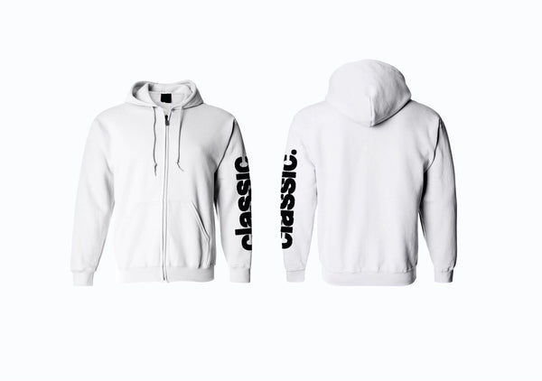black on white zip up hoodie