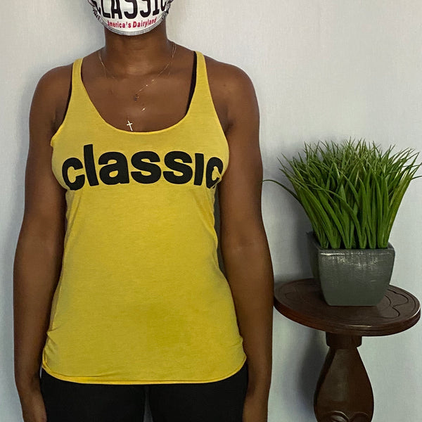 *New Arrival* black on yellow ladies tank