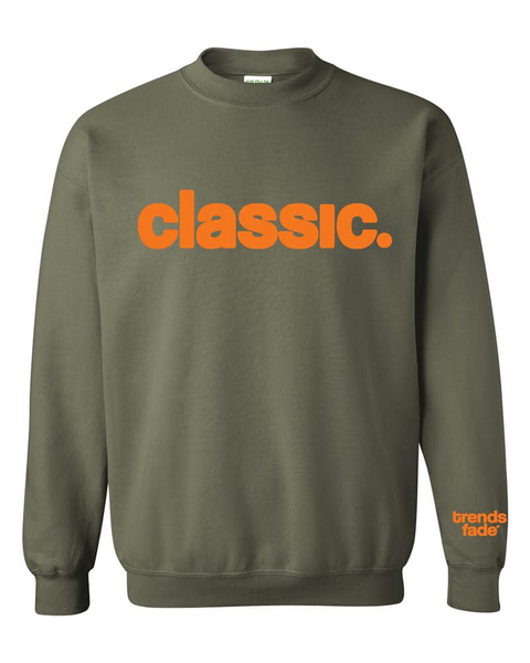 orange on olive crewneck