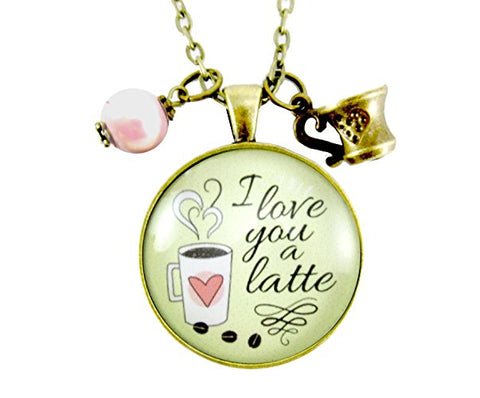 I love you a latte necklace