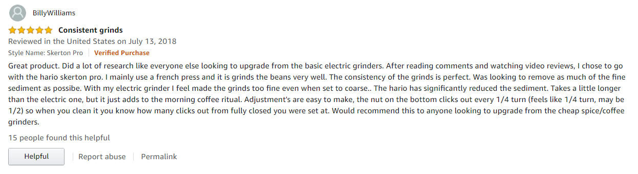 BillyWilliams customer review