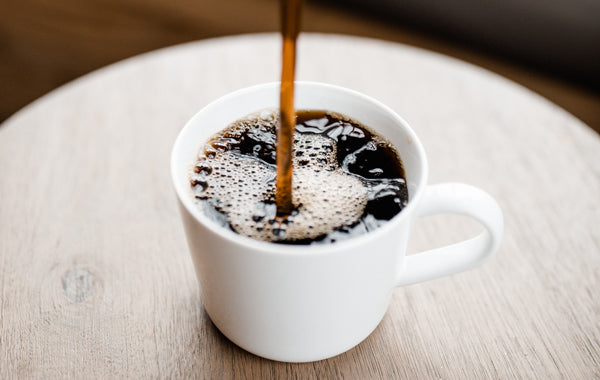 black coffee, espresso, and coffee grounds