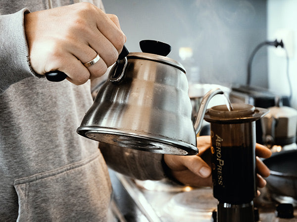 Person holding stainless steel teapot