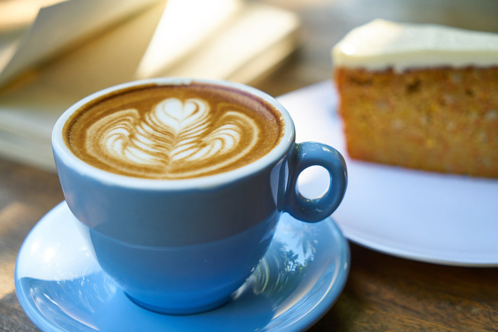 coffee latte with cake