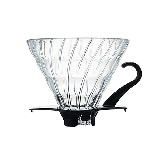 Hario V60 Glass Coffee Dripper (Size 02, Black)