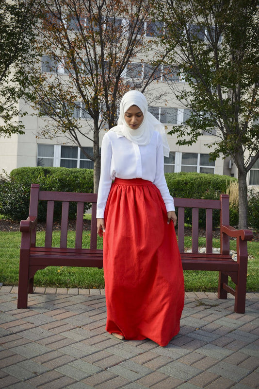 SCARLET RED MAXI SKIRT