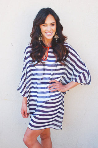 Navy and White Striped Swim Cover