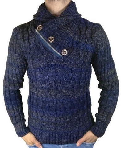 Quarter Zip Roll Neck Navy