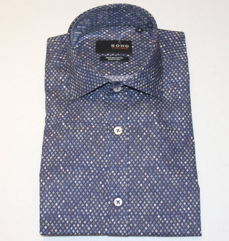 Sonny Shirt Navy Beige Pattern