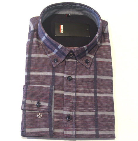 Lennon Burgundy Check Shirt