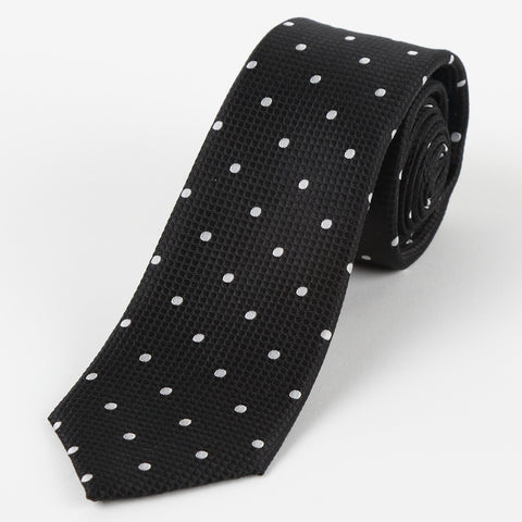 Silk Polka Dot Tie Black
