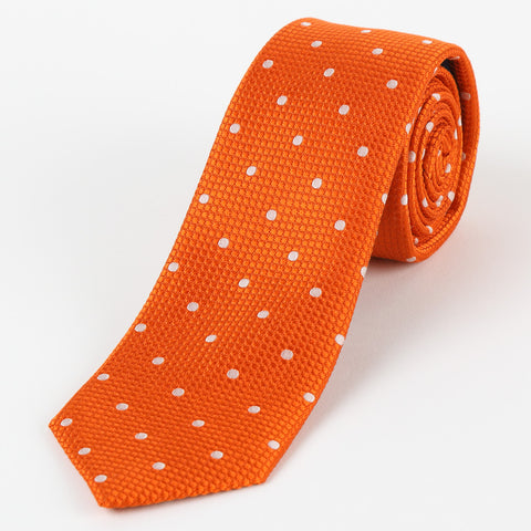 Silk Polka Dot Tie Orange