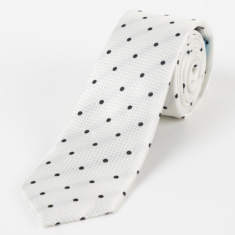 Silk Polka Dot Tie White