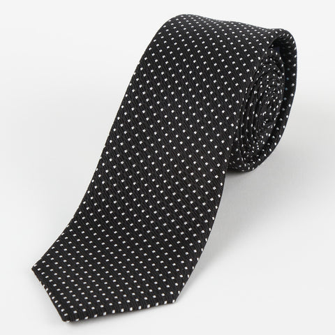 Silk Medium Dot Tie Black