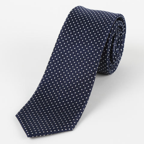 Silk Medium Dot Tie Navy