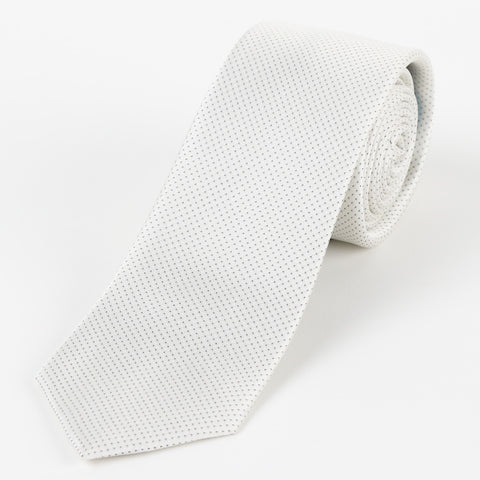Silk Mini Dot Tie White