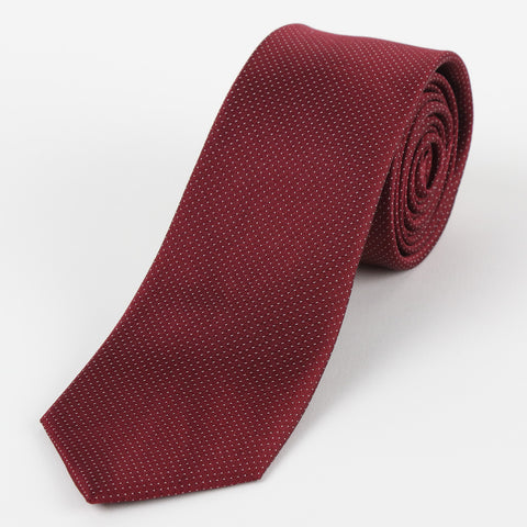Silk Mini Dot Tie Burgundy