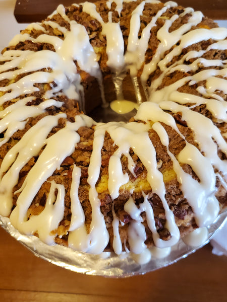Cinnamon Pecan Coffee Cake with Vanilla Buttercream Drizzle
