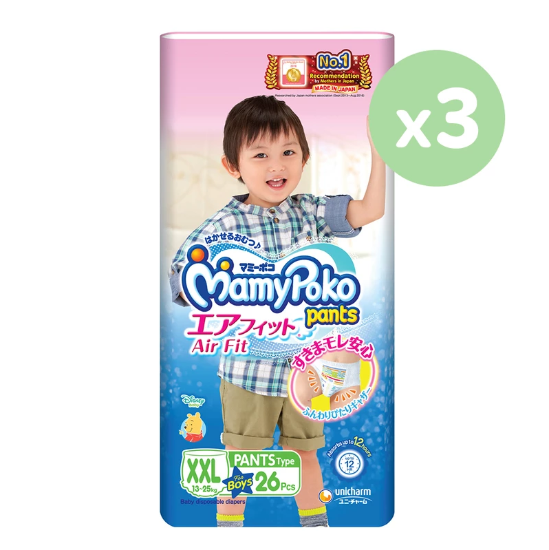 Mamypoko Air Fit Pants Type - Boy XXL 26 pieces x 3 packs