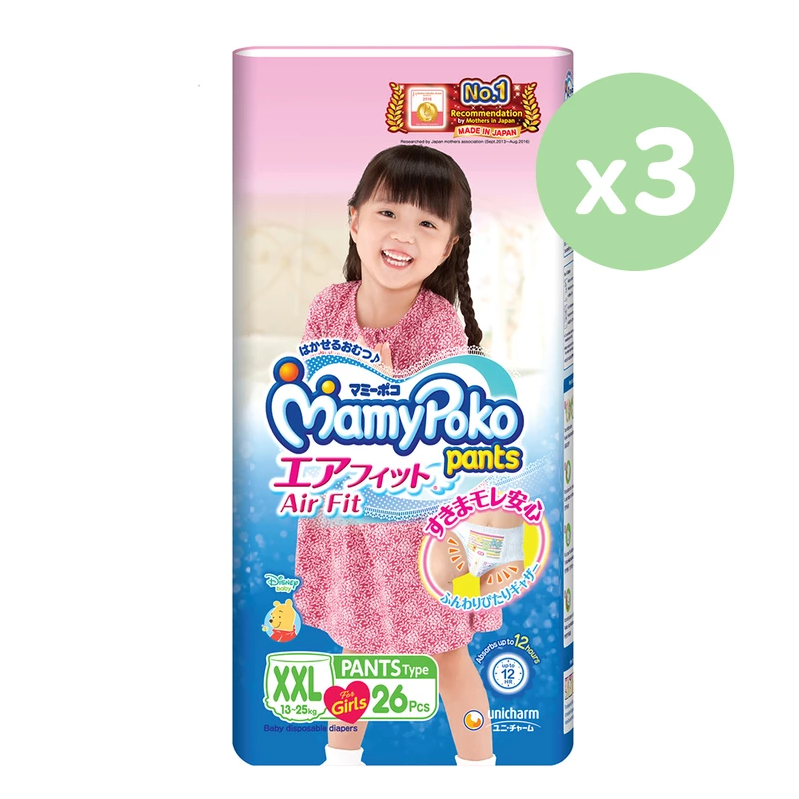 Mamypoko Air Fit Pants Type - Girl XXL 26 pieces x 3 packs