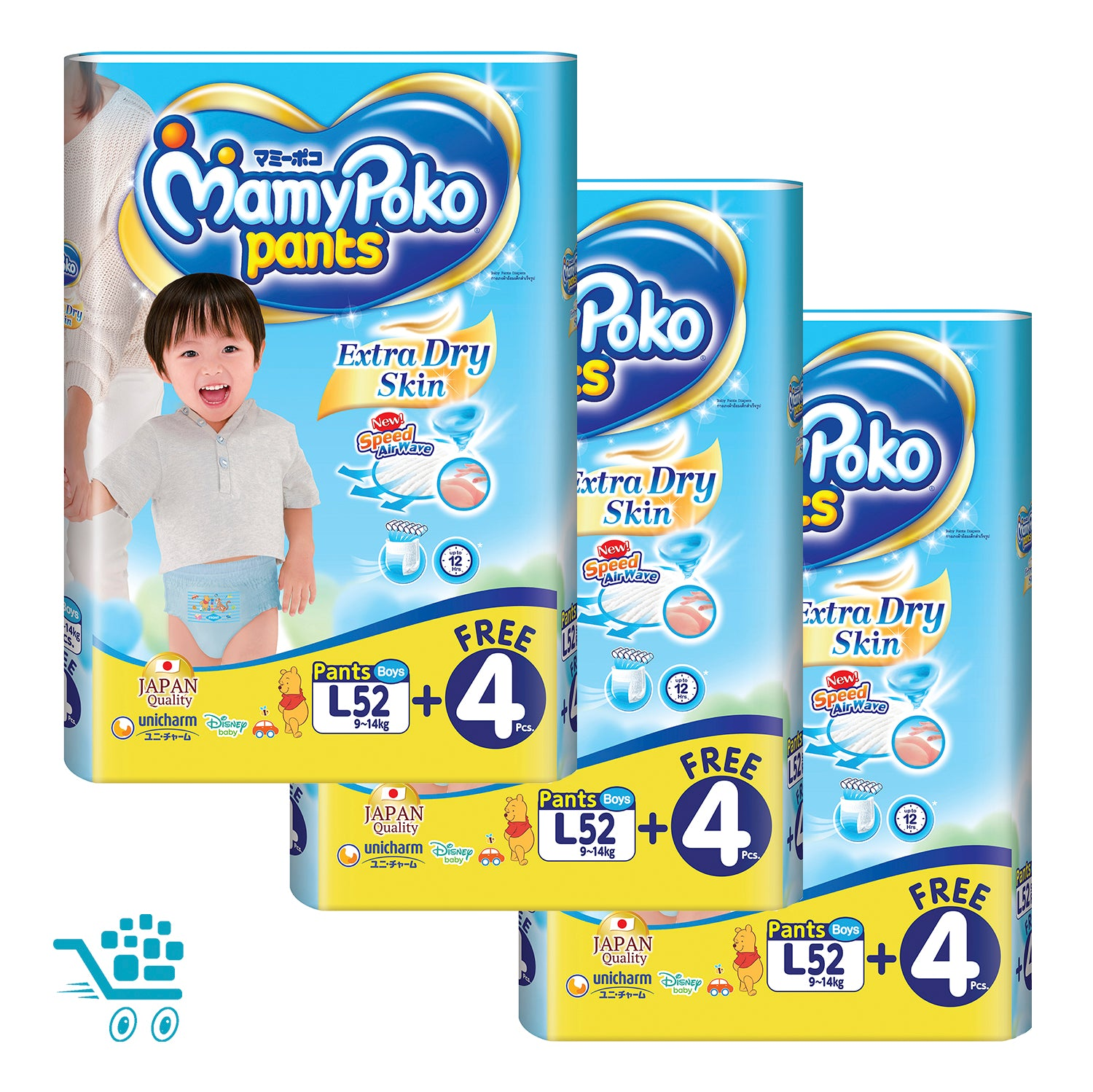 MamyPoko Extra Dry Skin Pants Bonus Pack Boy L 52+4 pieces x 3 packs