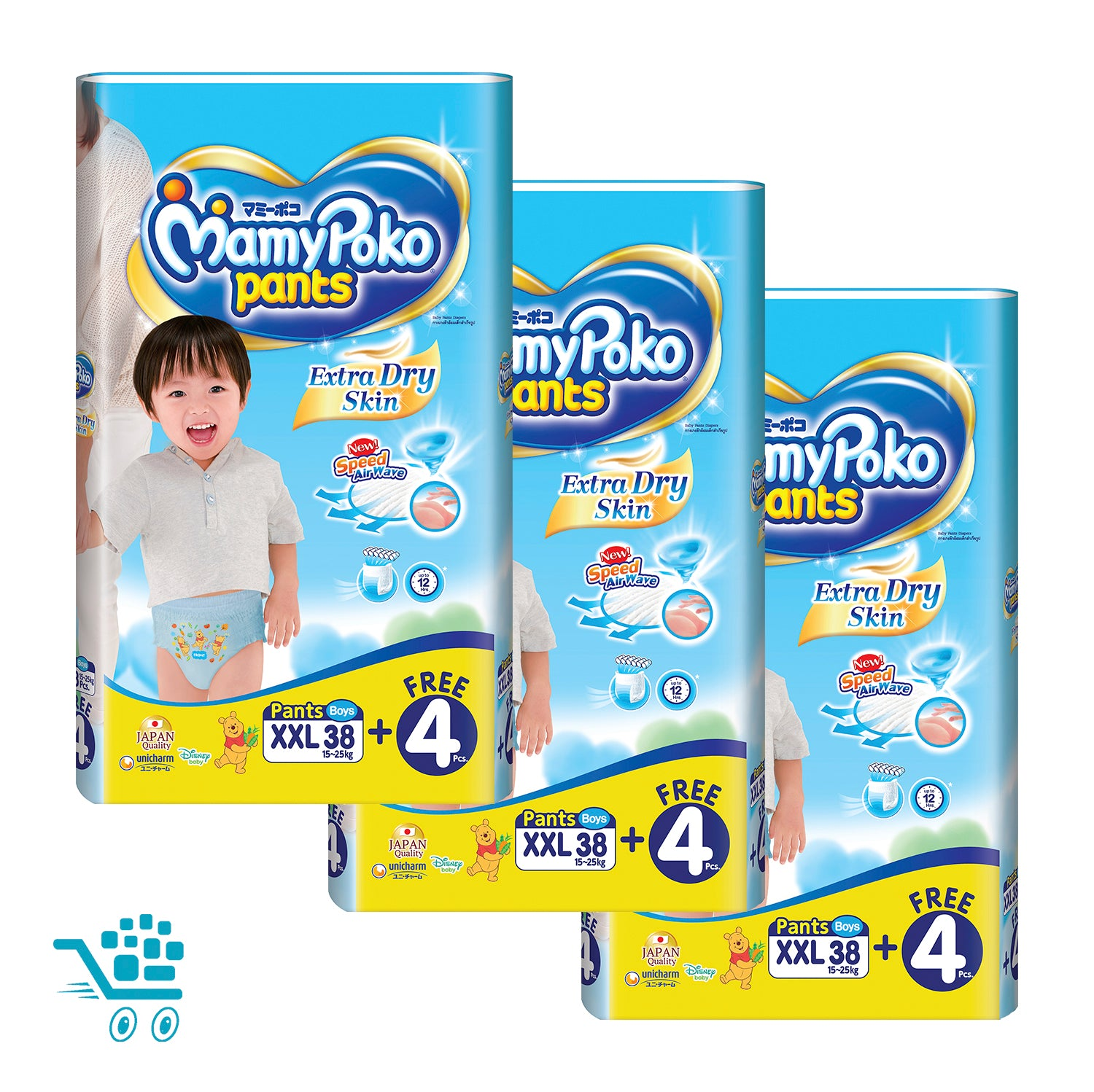 MamyPoko Extra Dry Skin Pants Bonus Pack Boy XXL 38+4 pieces x 3 packs