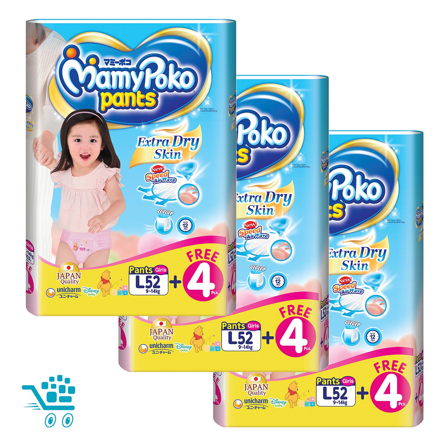 MamyPoko Extra Dry Skin Pants Bonus Pack Girl L 52+4 pieces x 3 packs